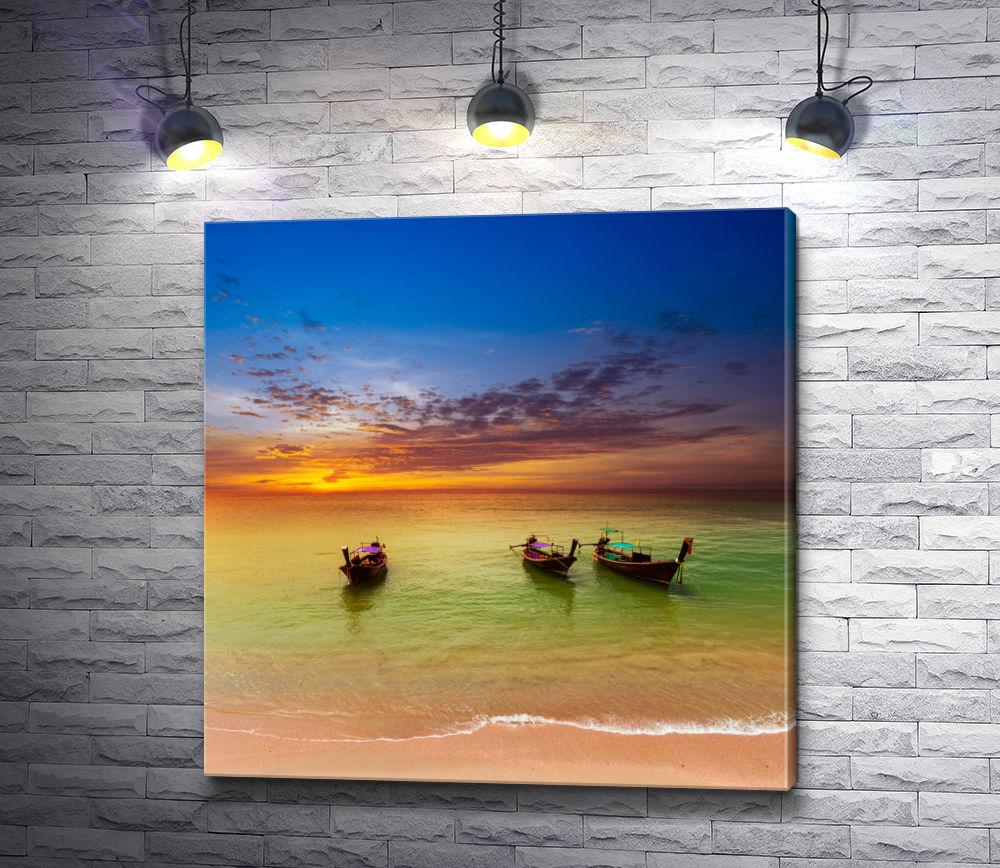 """Картина """"Три лодки на берегу во время заката"""""""