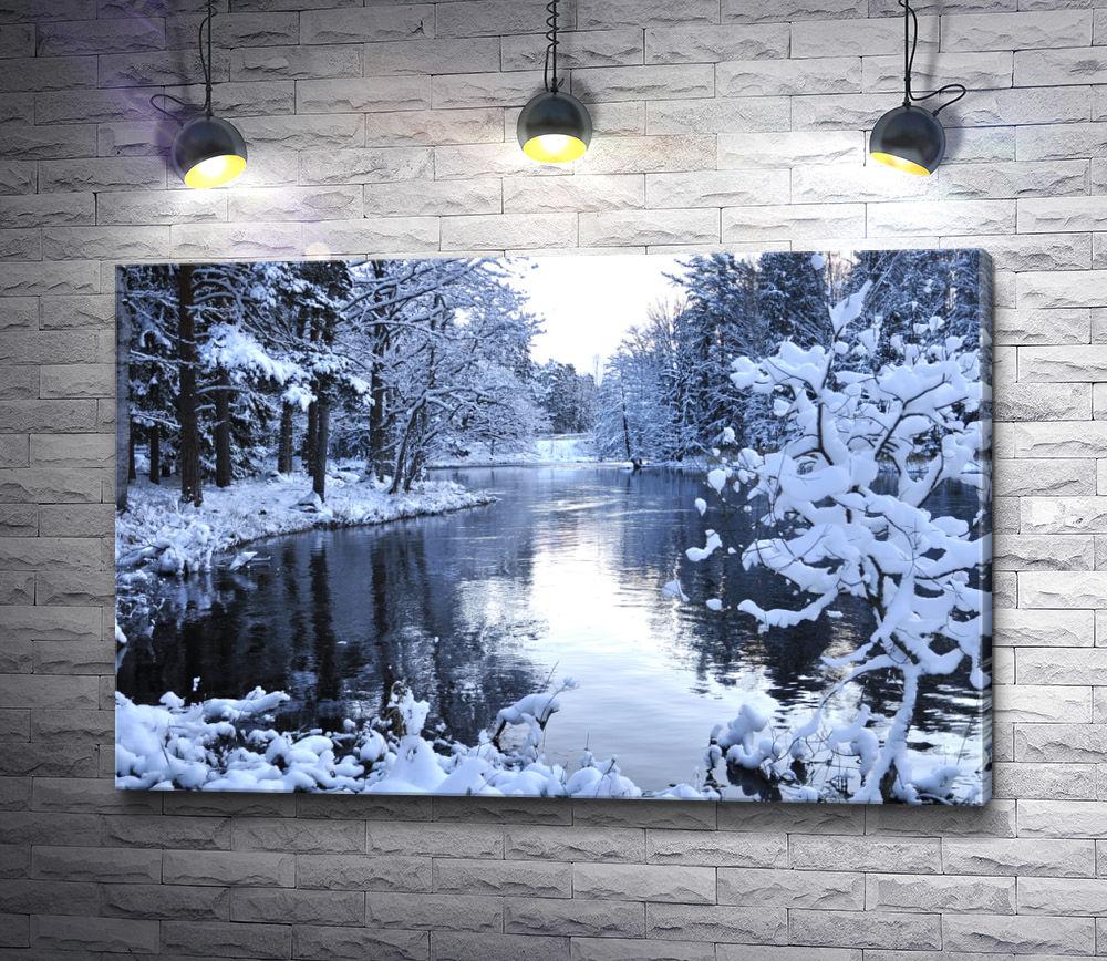 """Картина """"Озеро в зимнем лесу"""""""