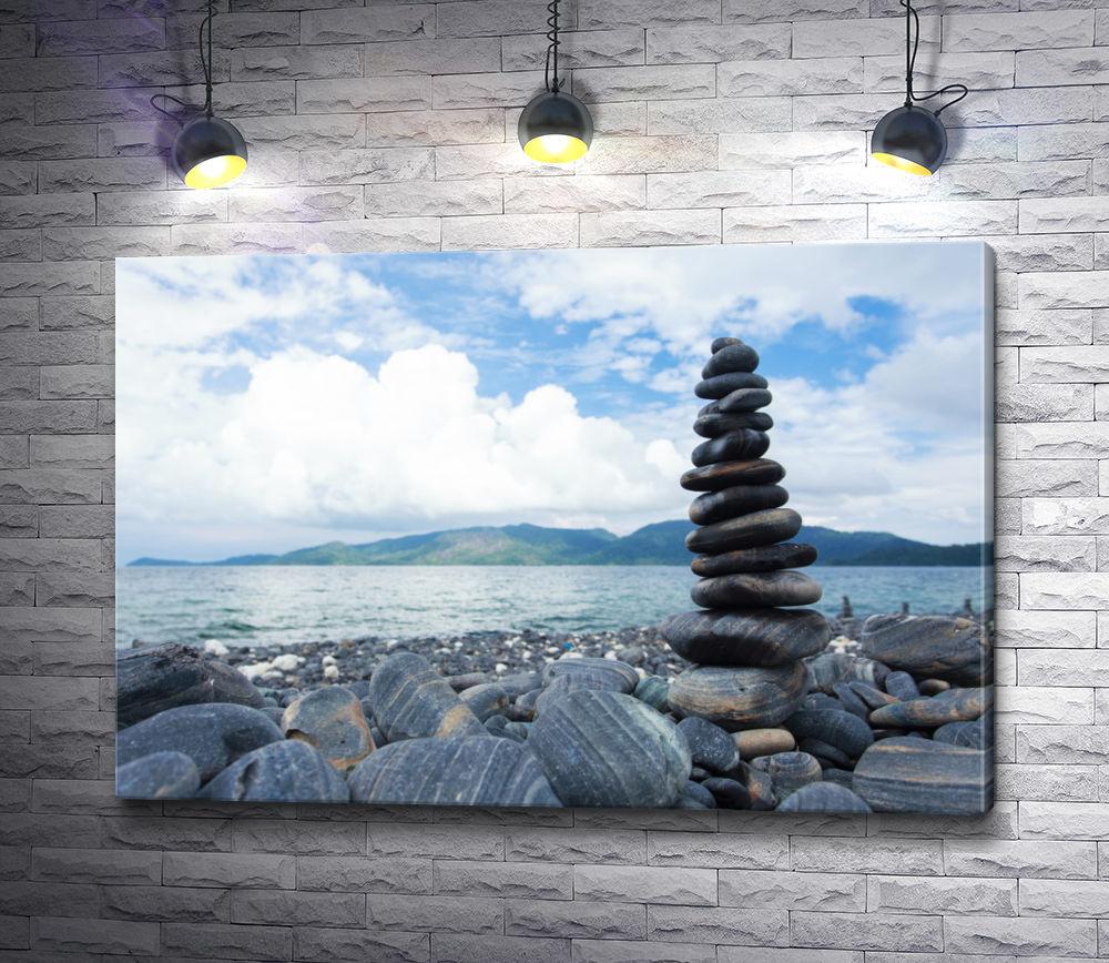 """Картина """"Пирамида из камушков на фоне моря и гор """""""