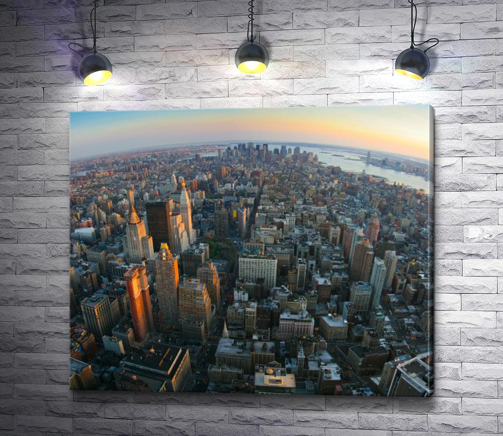 "Картина ""Вид с воздуха на нижний Манхэттен, Нью-Йорк"""