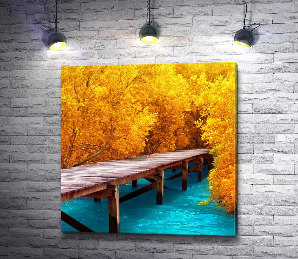 """Картина """"Мост через реку в осеннем лесу"""""""