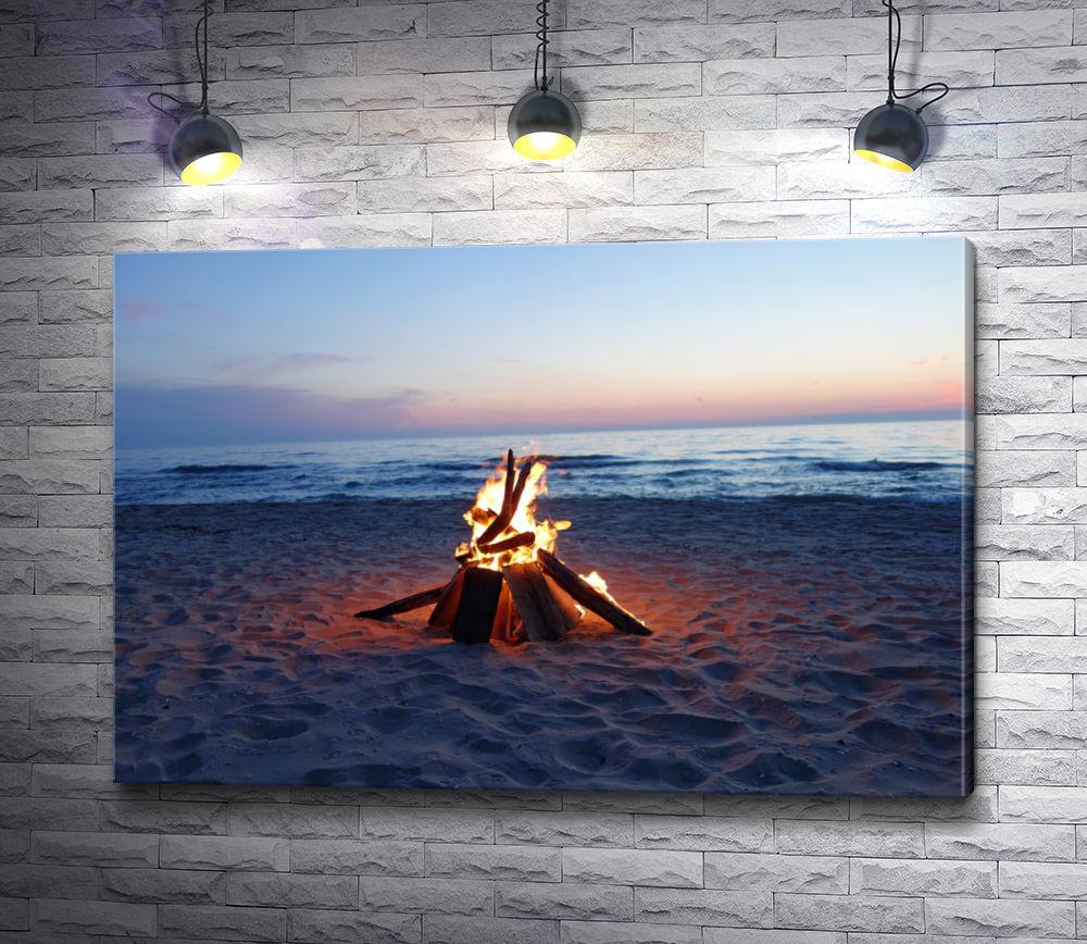 """Картина """"Костер на берегу моря """""""