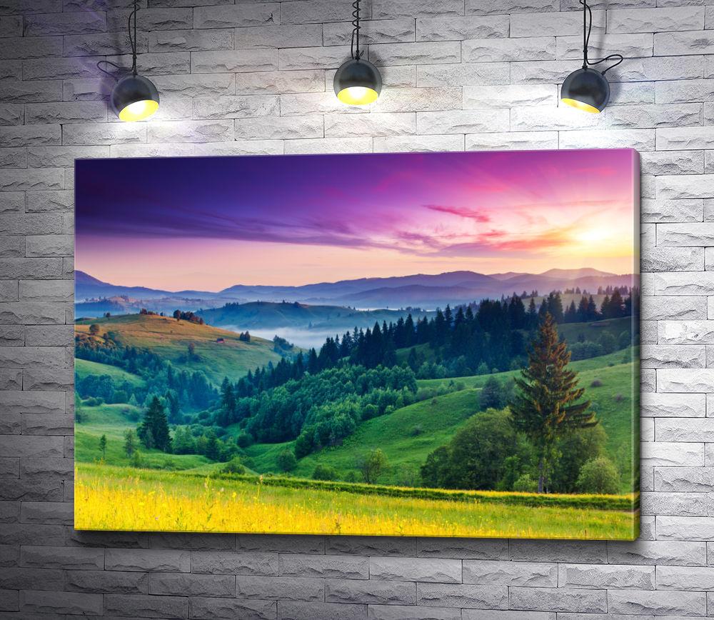 """Картина """"Живописная полонина в горах на фоне лилового неба"""""""