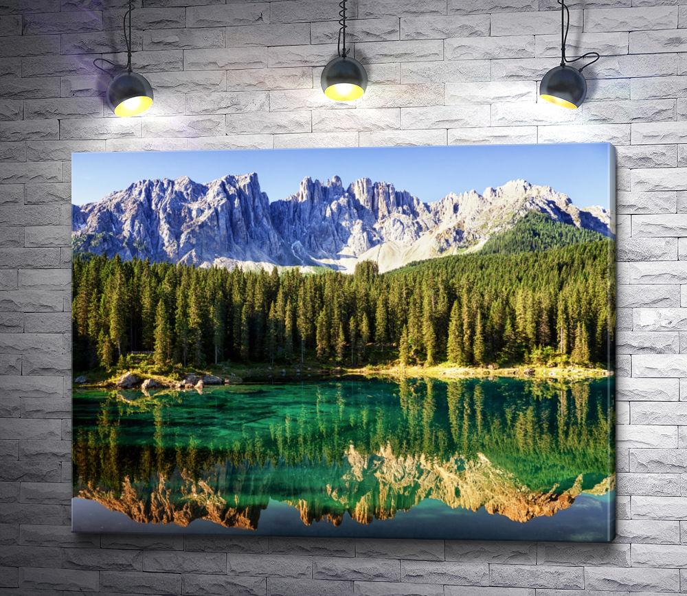 """Картина """"Панорама на озеро Трентино Альто-Адидже в горах"""""""