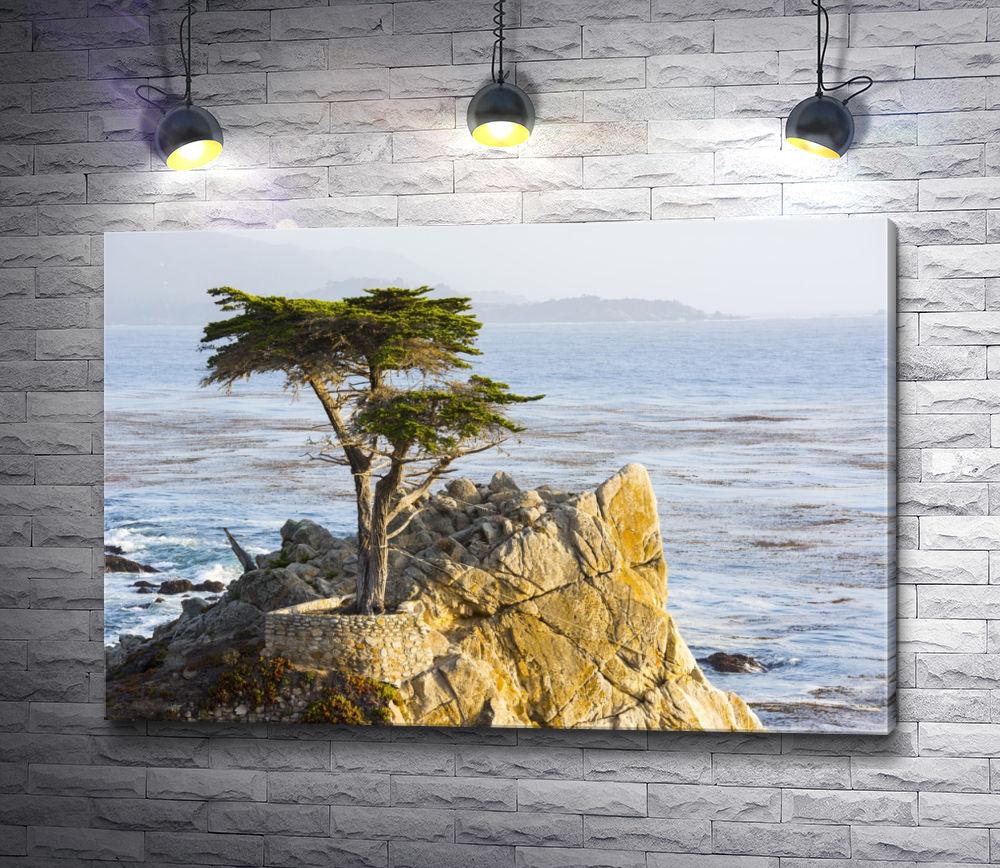 """Картина """"Дерево на вершине утеса над морем"""""""