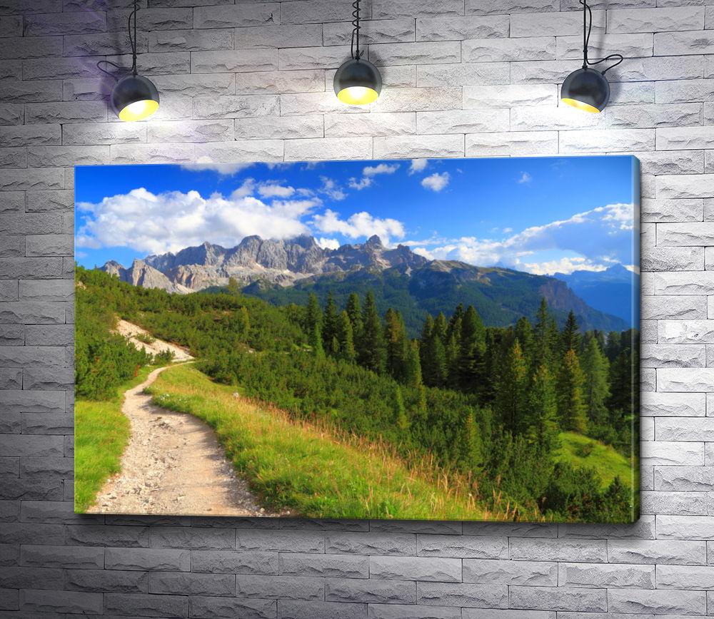 """Картина """"Горный пейзаж с тропой, зеленым лугом и лесом"""""""