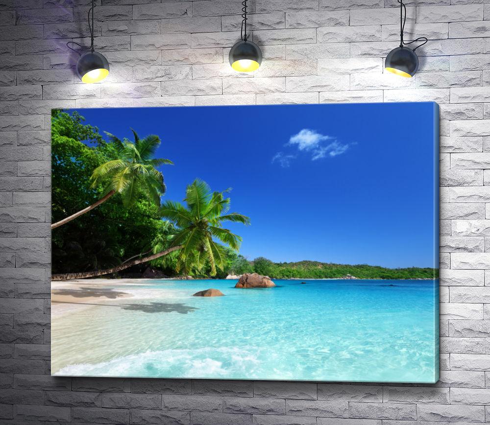"""Картина """"Пляж с пальмами на берегу лазурного океана"""""""