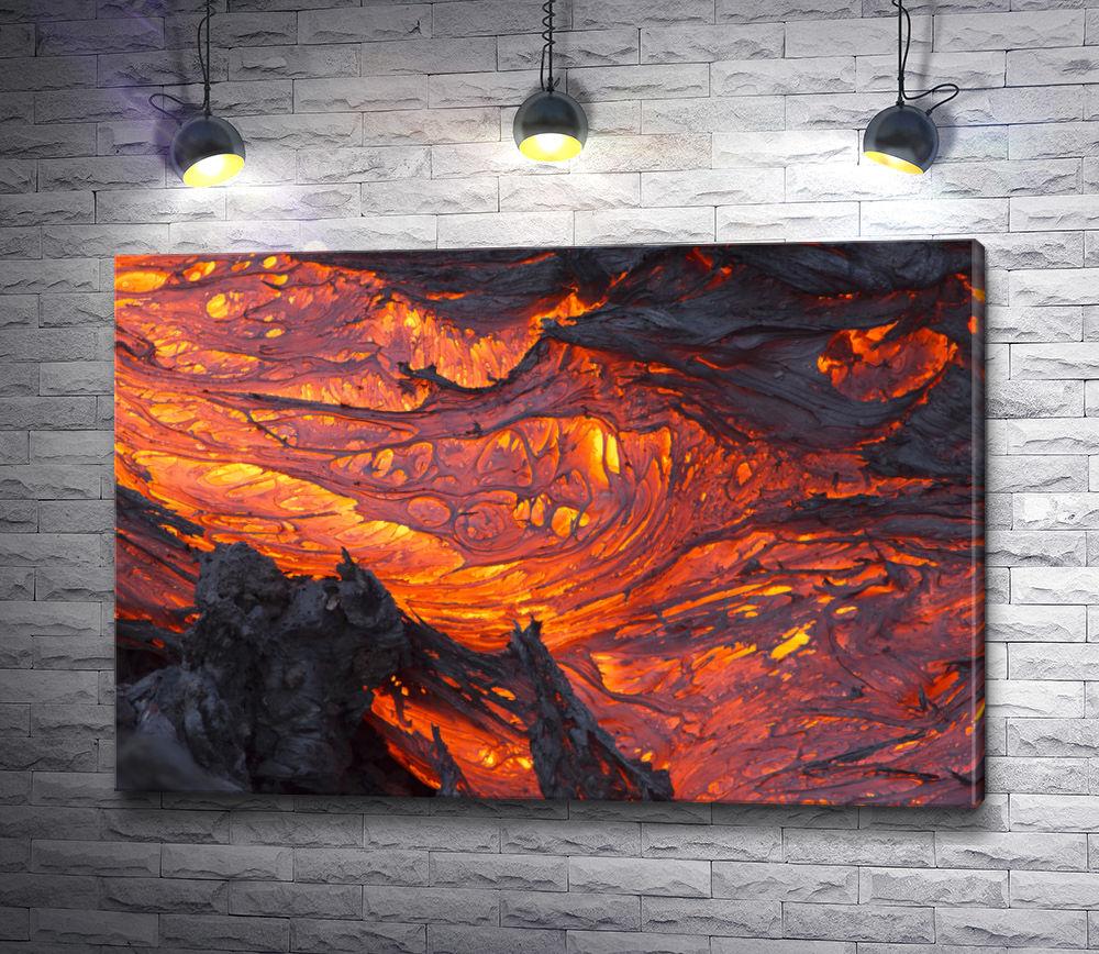 """Картина """"Огненная лава. Макросъемка."""""""