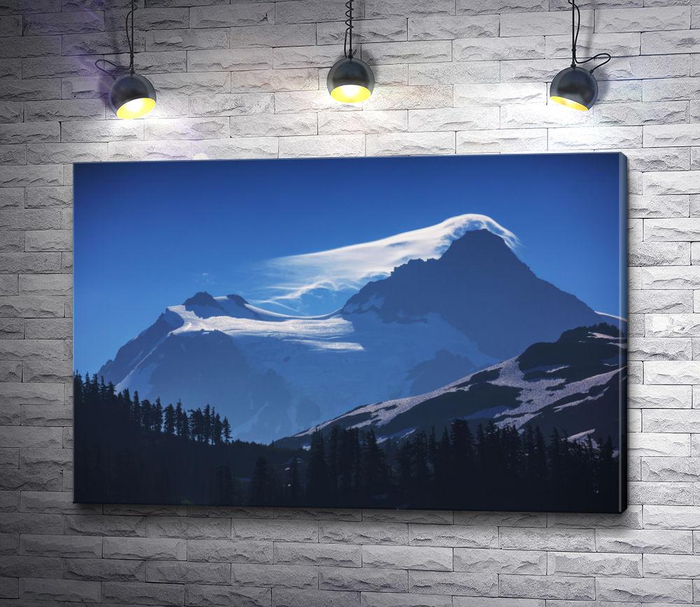 """Картина """"Ночной вид на заснеженные горы"""""""