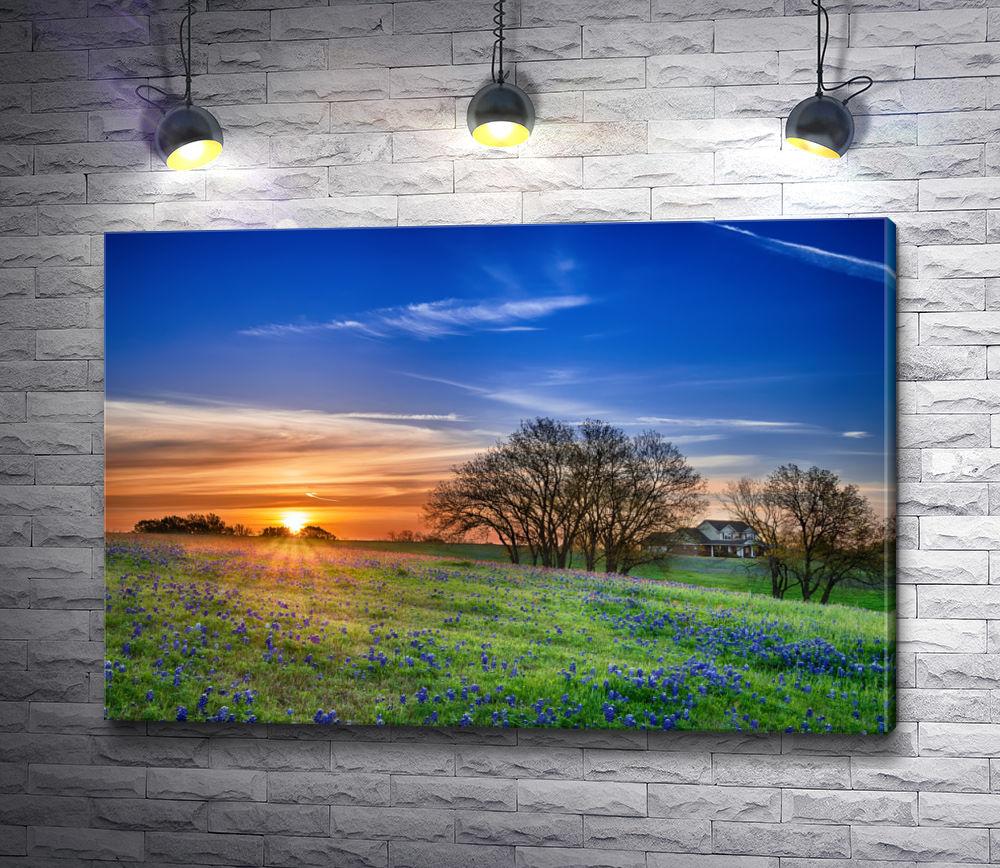 """Картина """"Поляна весенне-голубых цветов на рассвете"""""""