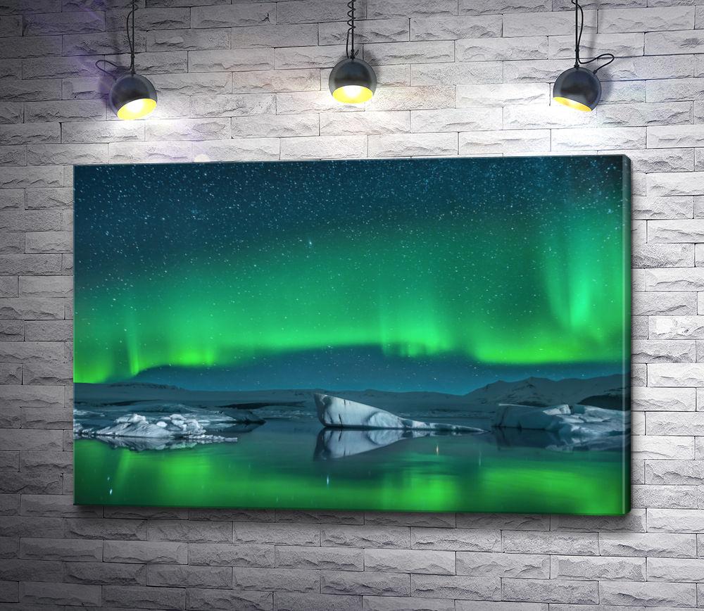 """Картина """"Изумрудное свечение неба над рекой с льдинами"""""""