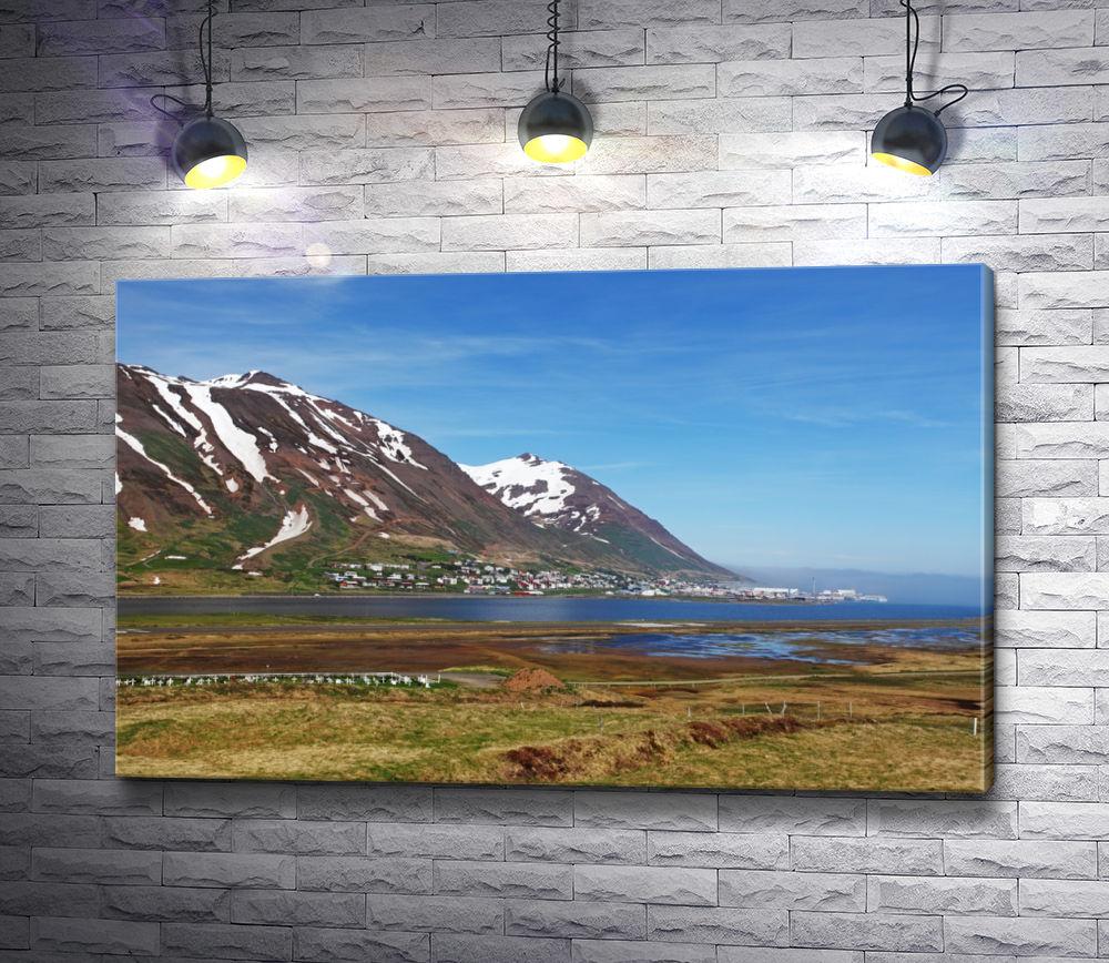 """Картина """"Исландский пейзаж с фьордом и горами"""""""