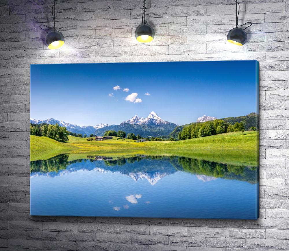"""Картина """"Альпийские луга и горы отражаются в озере"""""""