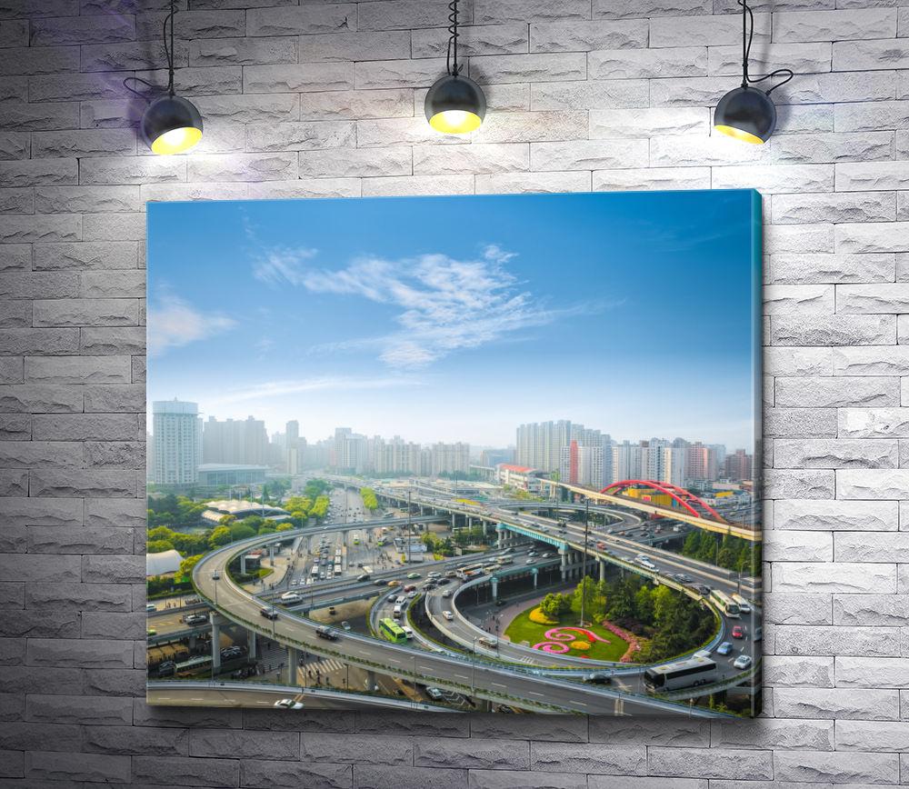 """Картина """"Автомобильная магистраль в час пик, Шанхай, Китай"""""""