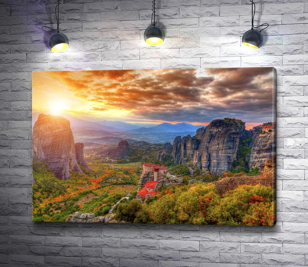 """Картина """"Монастыри Метеоры - живописные скалы в горах Монастыри Метеоры, Греция"""""""