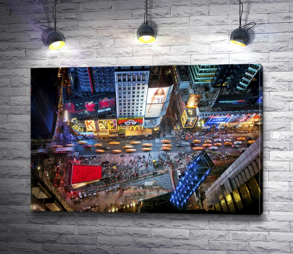 "Картина ""Ночная жизнь Таймс Сквер,  Нью Йорк """