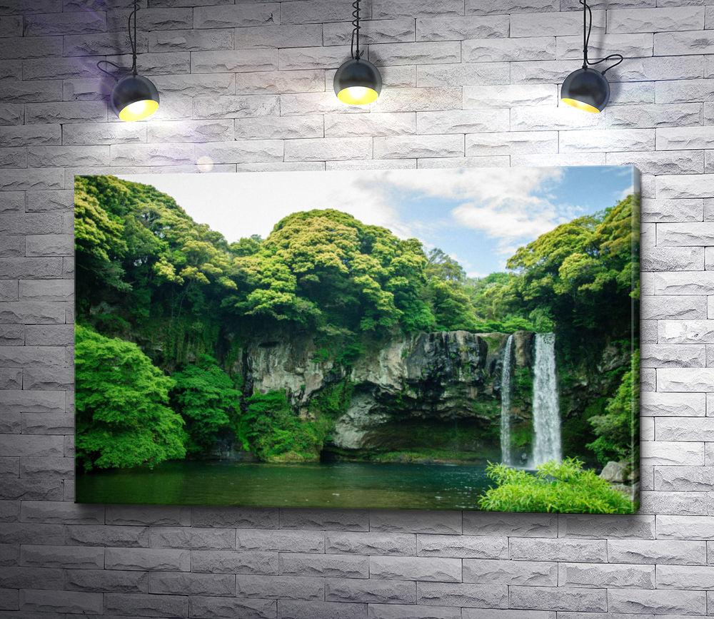"""Картина """"Водопад Чонджин и мандариновые рощи, остров Чеджу, Южная Корея"""""""