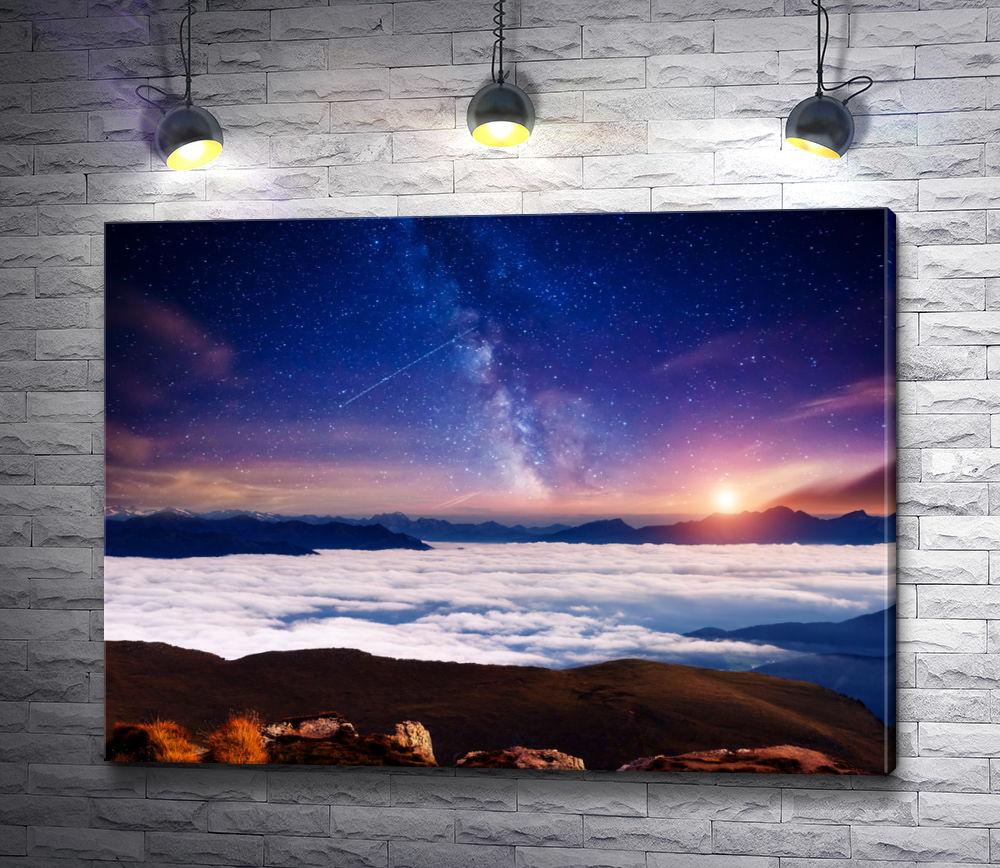 """Картина """"Пейзаж со звездным небом"""""""
