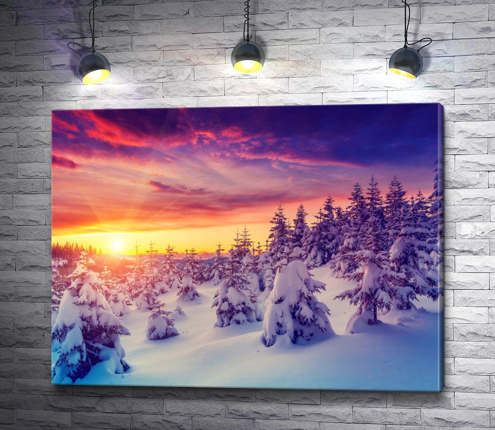 """Картина """"Вечернее солнце над заснеженным лесом """""""