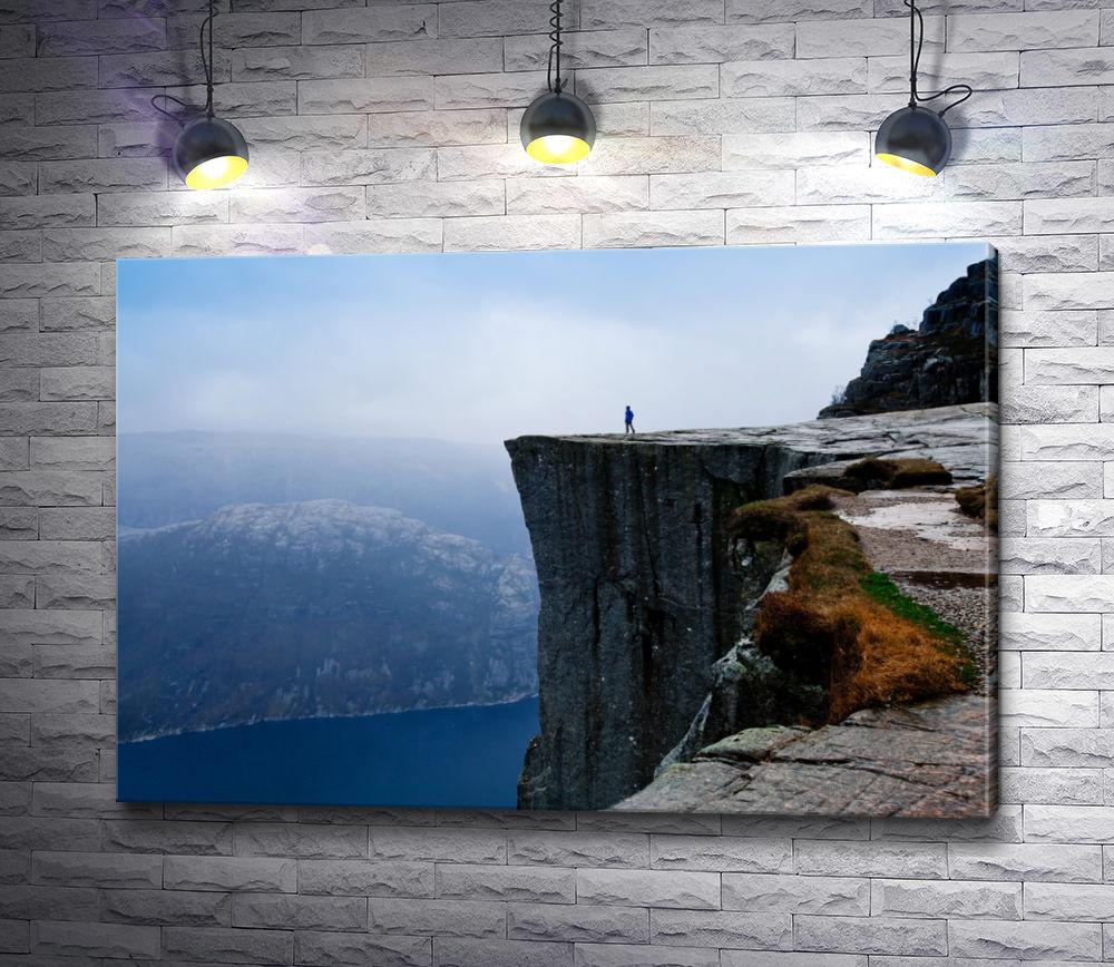 """Картина """"Парень на краю обрыва в горах"""""""