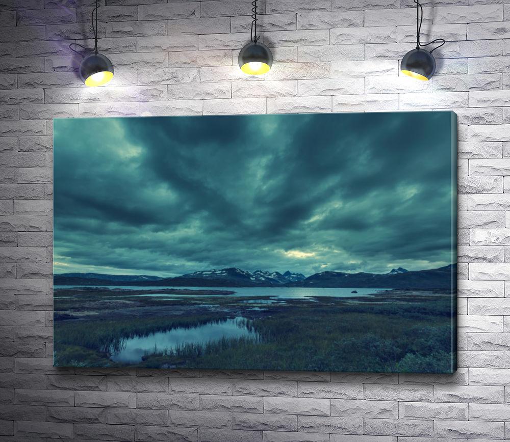 "Картина ""Норвежский пейзаж с горами и разливом рек"""