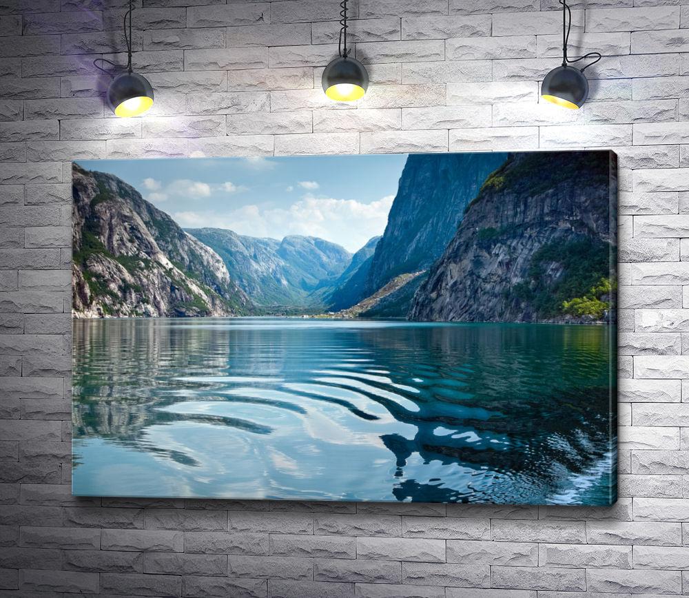"""Картина """"Горный ландшафт с озером в Норвегии"""""""