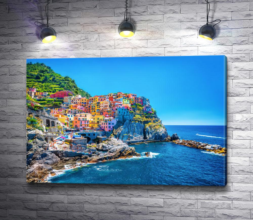 """Картина """"Разноцветные домики на побережье. Лигурия, Италия"""""""