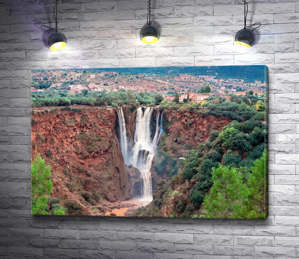 """Картина """"Ущелье с водопадом в Марокко"""""""