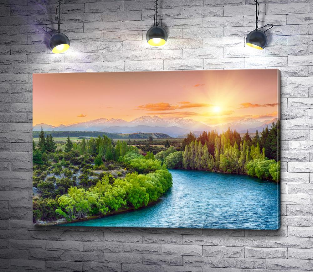 """Картина """"Красивый восход солнца. Новая Зеландия"""""""