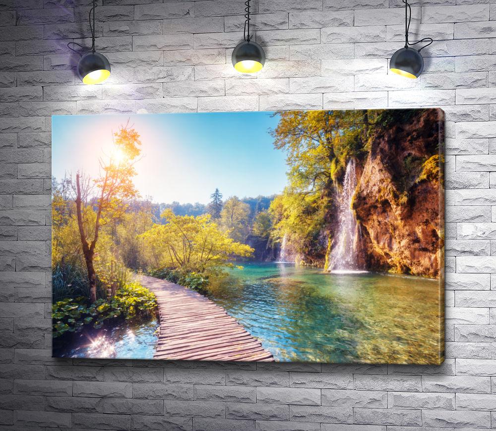 """Картина """"Деревянный мостик через реку и водопады. Карелия"""""""