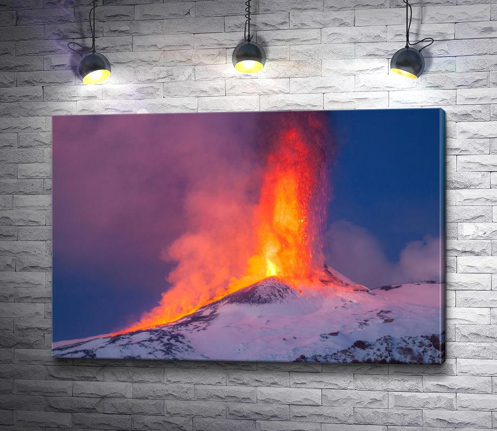 """Картина """"Действующий вулкан извергает лаву"""""""