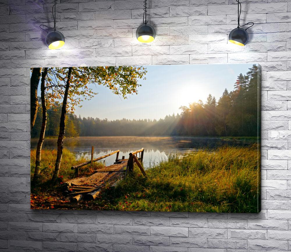 """Картина """"Осенний пейзаж с деревянным причалом"""""""