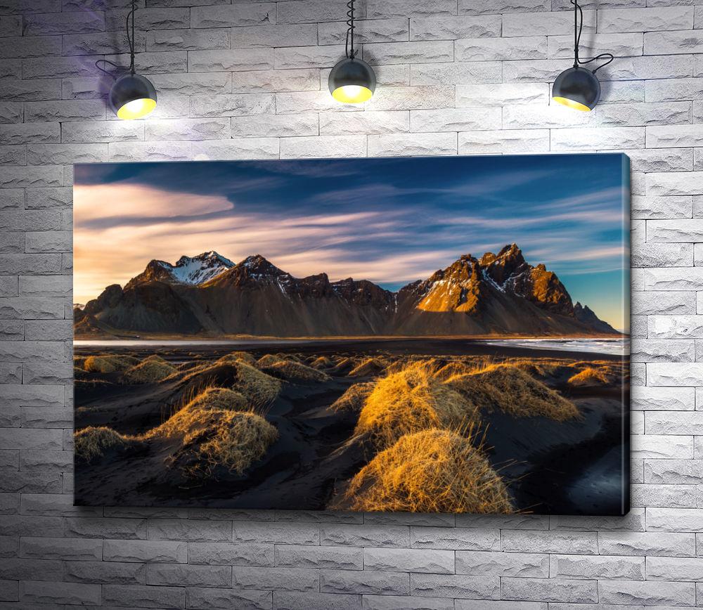 """Картина """"Рассвет в горах и песчаные дюны на побережье Стоккнеса"""""""