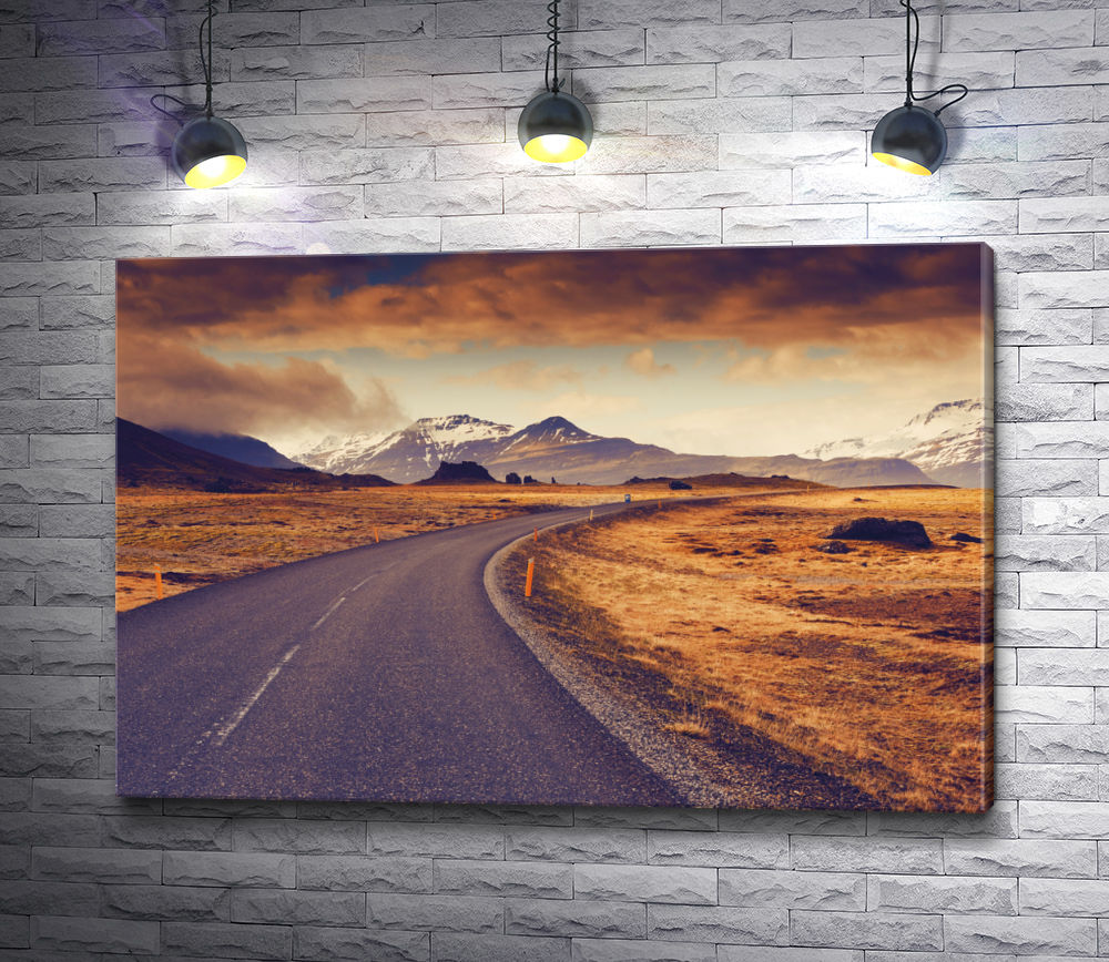 """Картина """"Горный ландшафт и автотрасса. Исландия"""""""