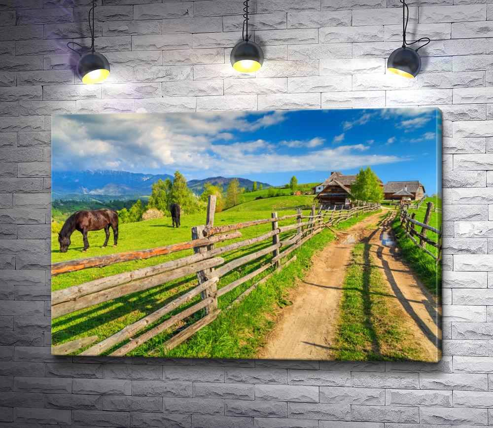 """Картина """"Лошади на деревенском пастбище"""""""