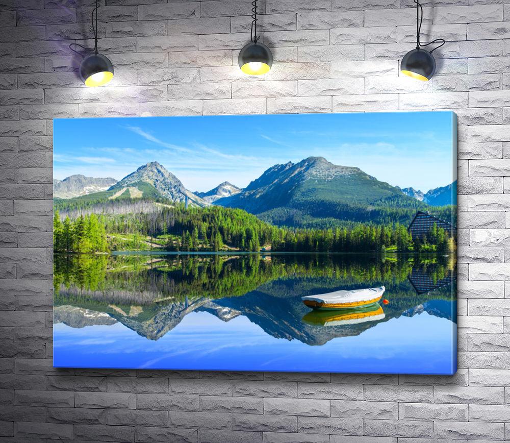 "Картина ""Лодка на озере в Высоких Татрах. Словакия"""