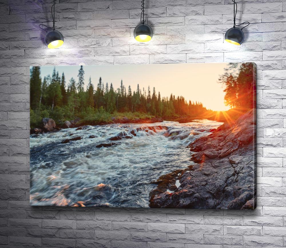 """Картина """"Пороги на реке в лесу. Россия"""""""