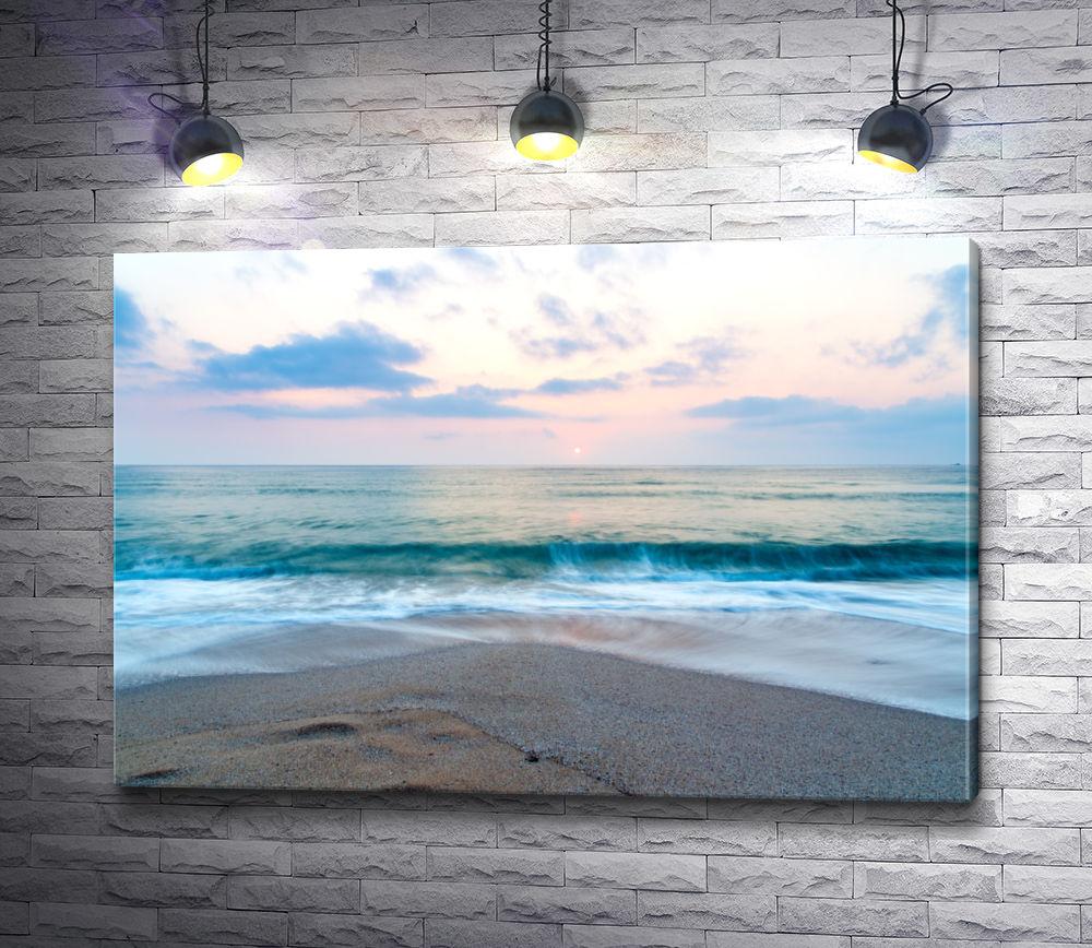 """Картина """"Розовый рассвет на морском побережье"""""""