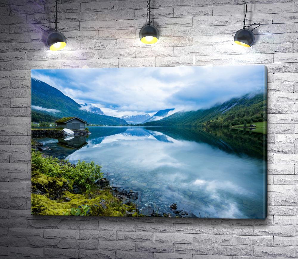 "Картина ""Домик на берегу горного озера. Норвегия"""