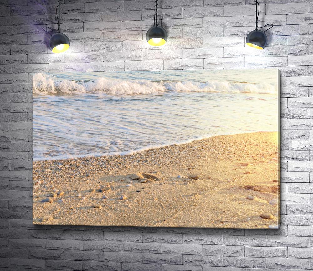 "Картина ""Морской прилив на песчаном пляже"""