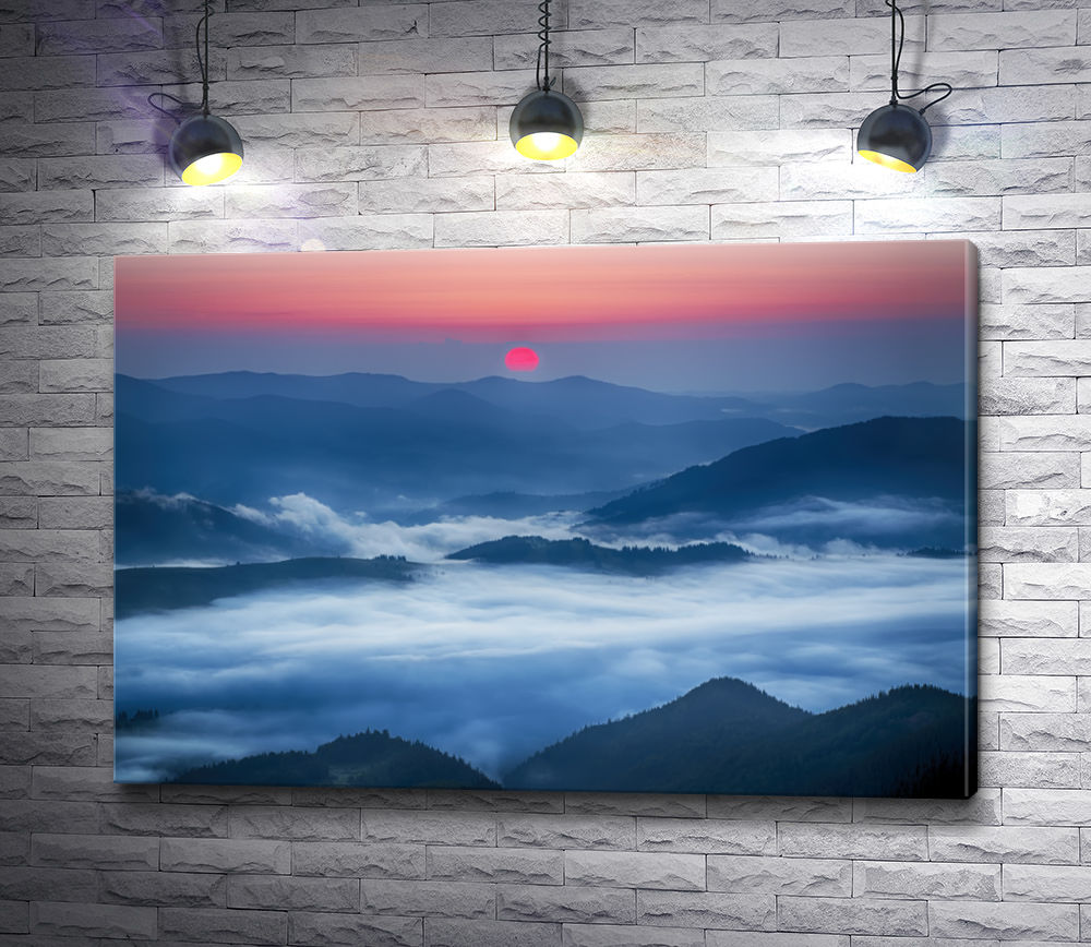 "Картина ""Закат солнца над облаками"""