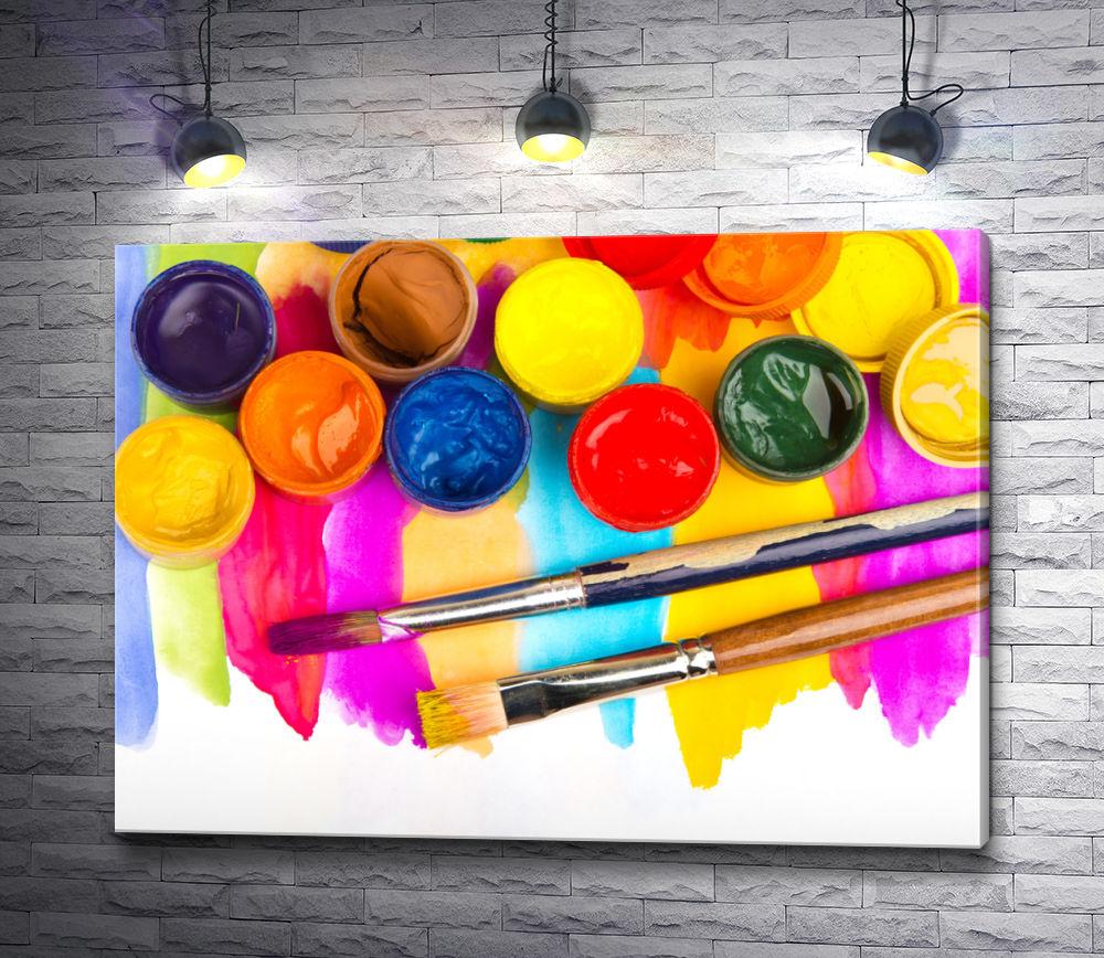 """Картина """"Разноцветные краски и кисти для рисования"""""""