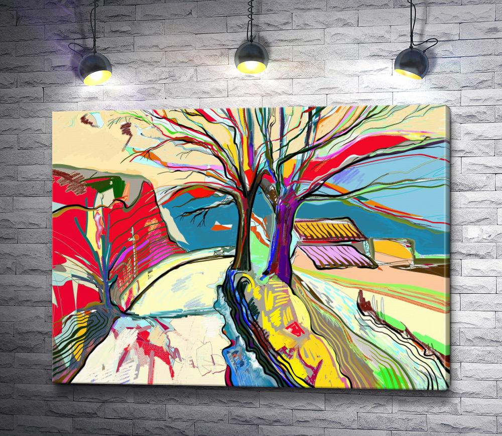 """Картина """"Два дерева на фоне сельских домиков"""""""