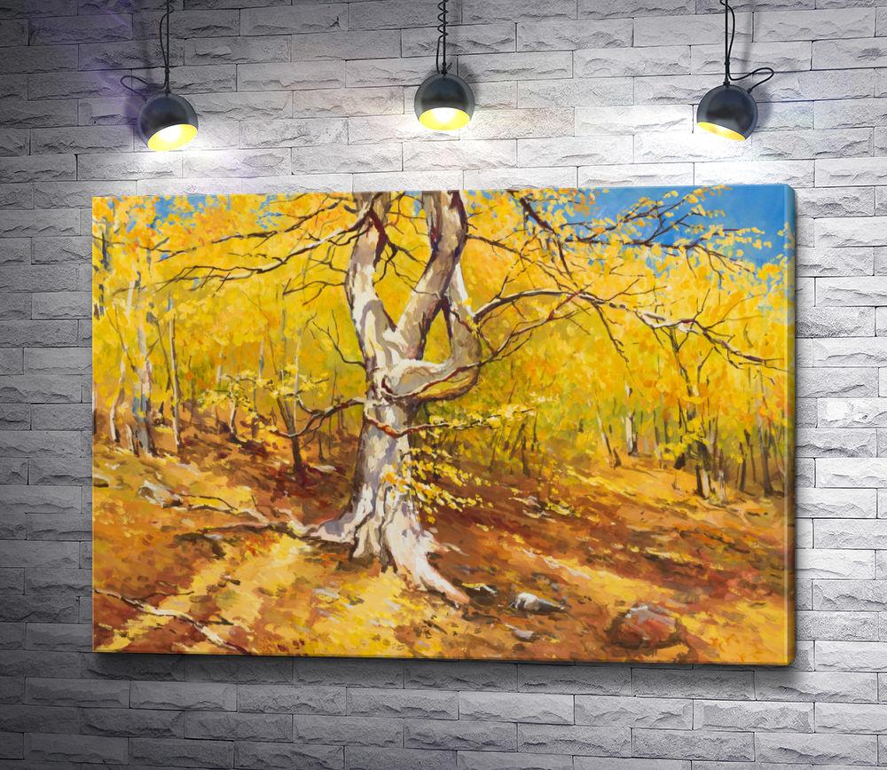 """Картина """"Осеннее дерево на склоне леса"""""""