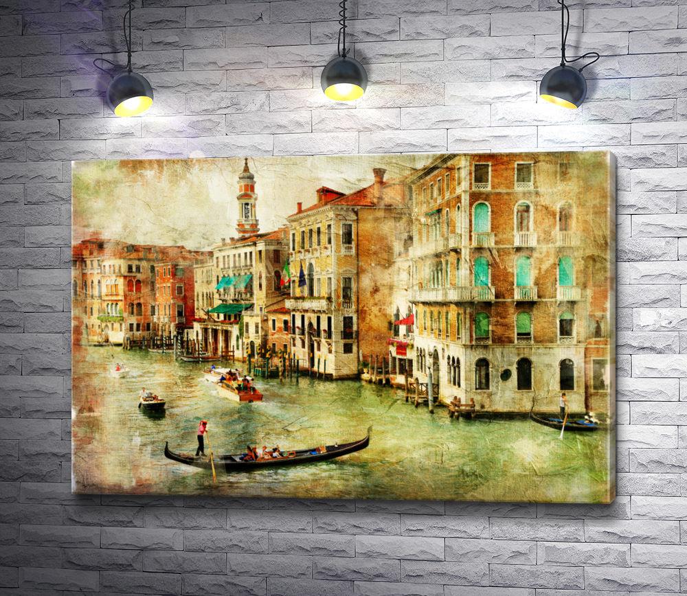 "Картина ""Гондолы с туристами на Гранд-канале. Венеция, Италия"""