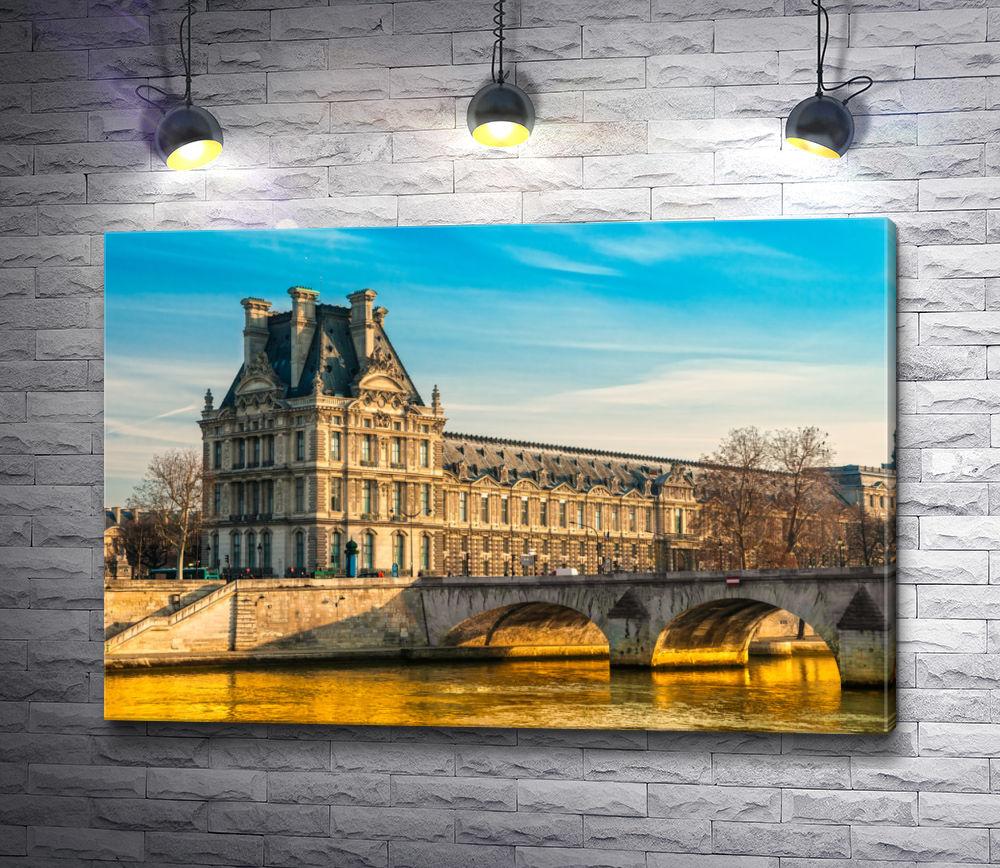 """Картина """"Вид на Лувр с берега Сены. Париж, Франция"""""""