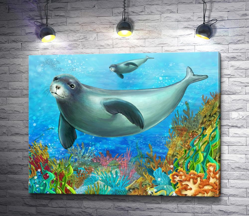 """Картина """"Морские котики возле коралловых рифов"""""""