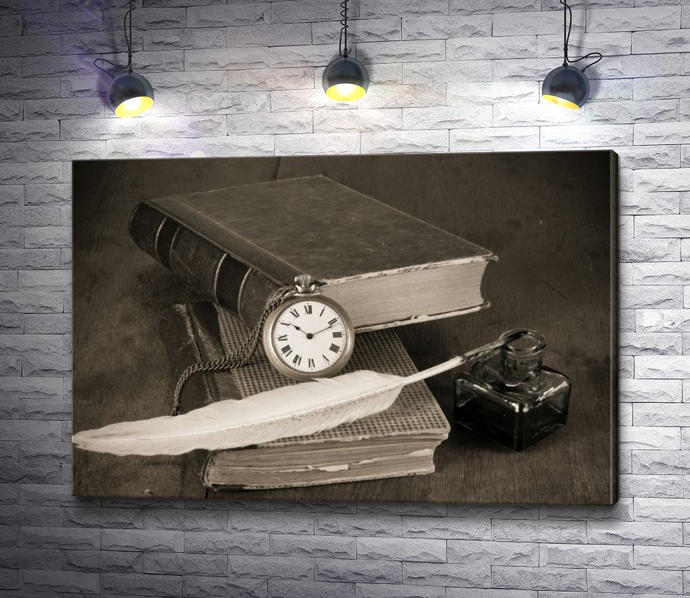 """Картина """"Книги и чернильница с пером в стиле винтаж"""""""