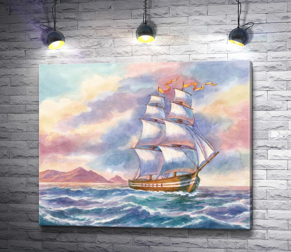 """Картина """"Парусник в море и розовый восход"""""""