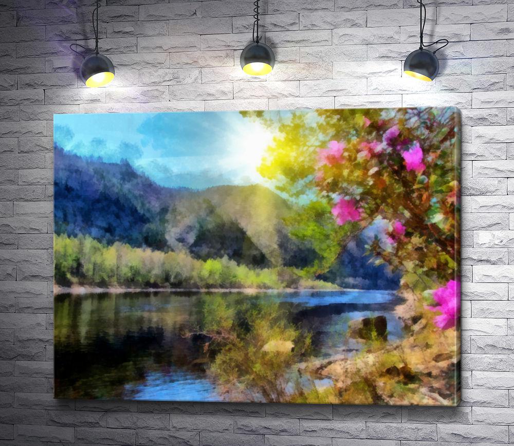 """Картина """"У реки в солнечный день"""""""